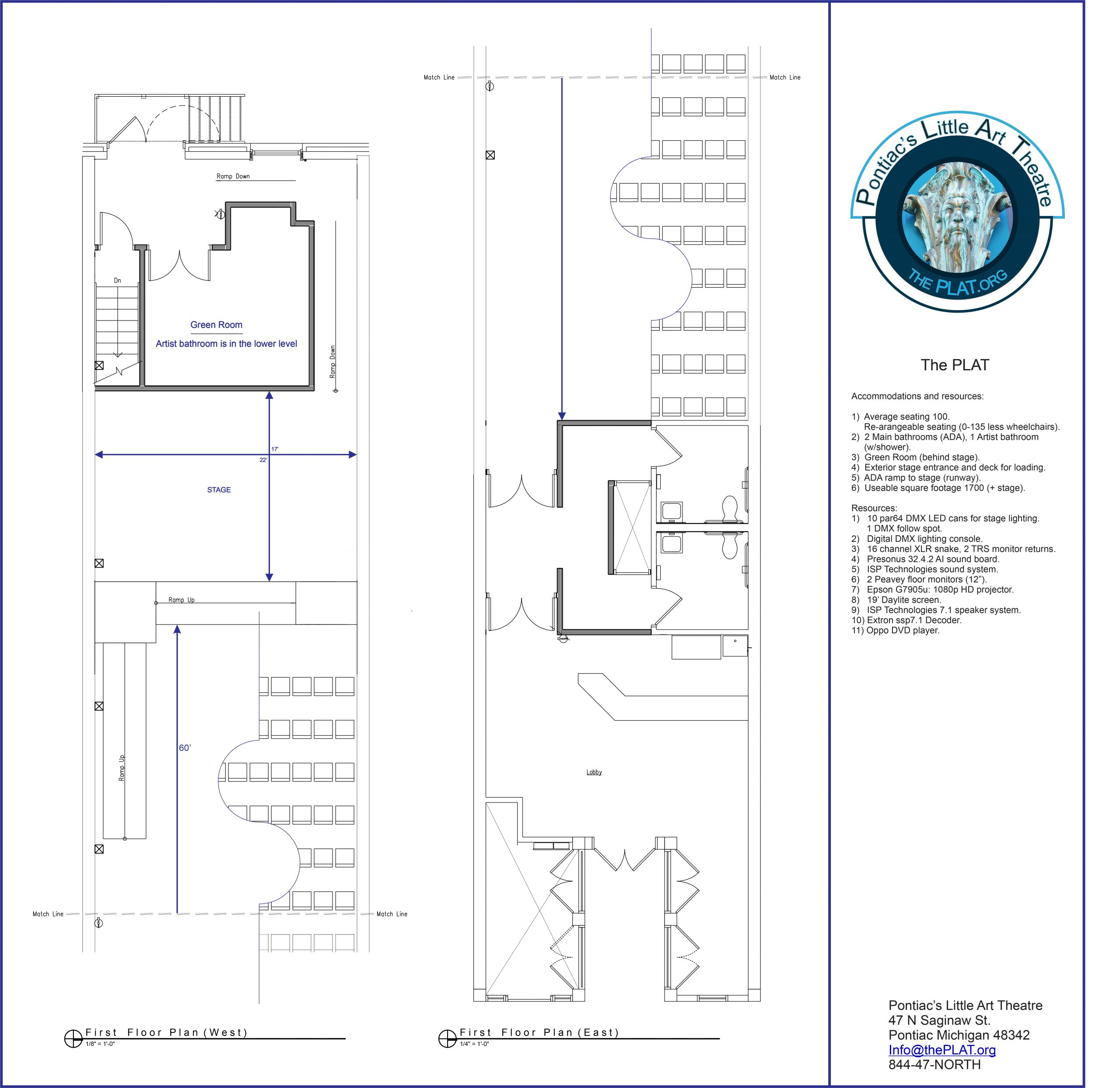 rental theater floor plan at the PLAT