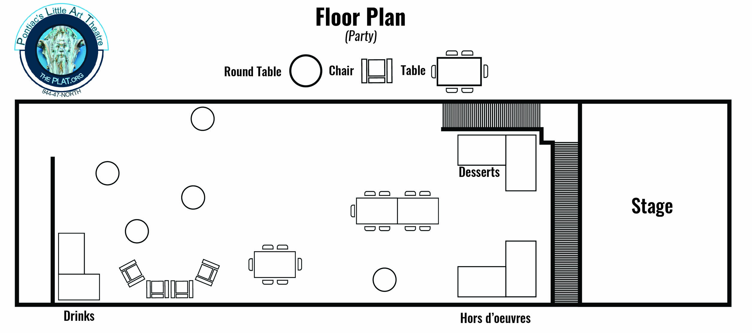 intimate event space sample party floor plan layout